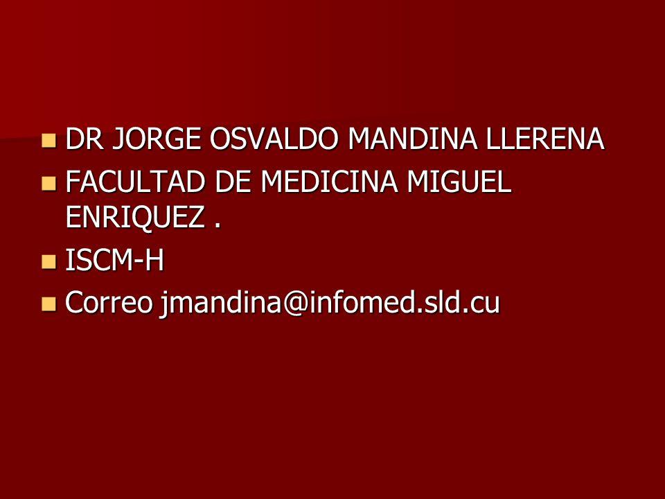 DR JORGE OSVALDO MANDINA LLERENA DR JORGE OSVALDO MANDINA LLERENA FACULTAD DE MEDICINA MIGUEL ENRIQUEZ. FACULTAD DE MEDICINA MIGUEL ENRIQUEZ. ISCM-H I