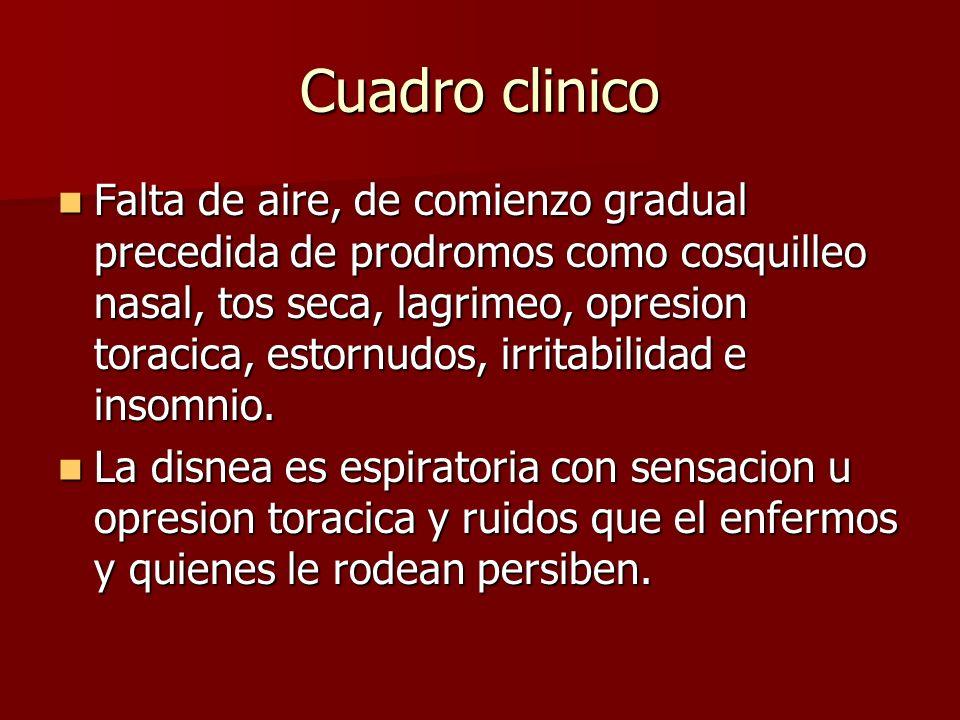 Cuadro clinico Falta de aire, de comienzo gradual precedida de prodromos como cosquilleo nasal, tos seca, lagrimeo, opresion toracica, estornudos, irr
