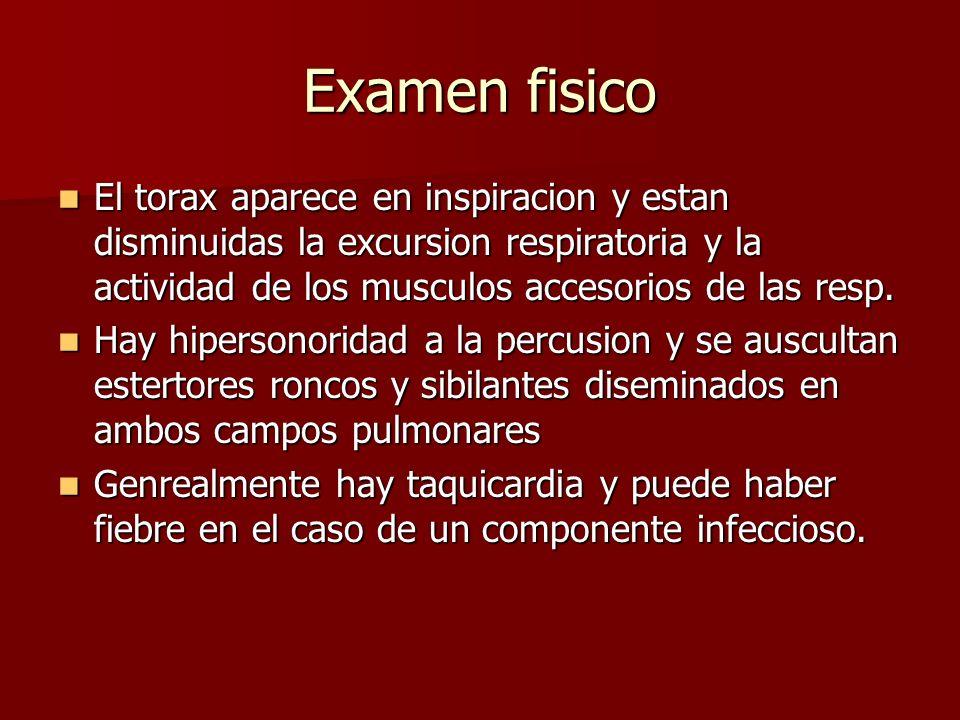 Examen fisico El torax aparece en inspiracion y estan disminuidas la excursion respiratoria y la actividad de los musculos accesorios de las resp. El