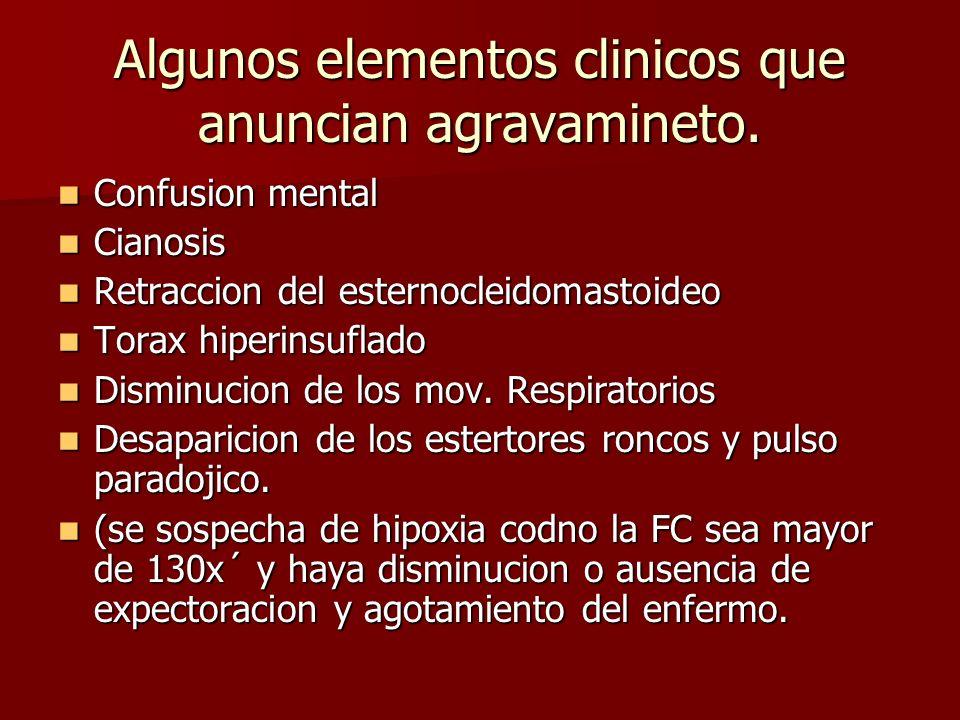 Algunos elementos clinicos que anuncian agravamineto. Confusion mental Confusion mental Cianosis Cianosis Retraccion del esternocleidomastoideo Retrac