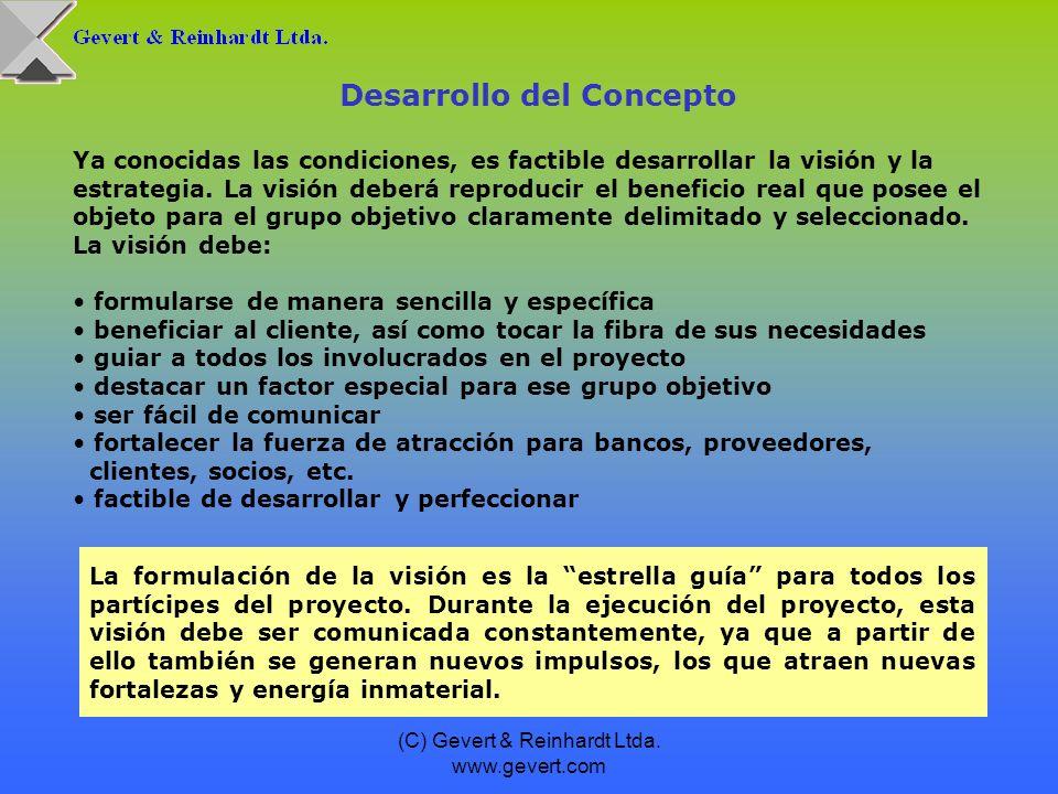 (C) Gevert & Reinhardt Ltda. www.gevert.com Ya conocidas las condiciones, es factible desarrollar la visión y la estrategia. La visión deberá reproduc
