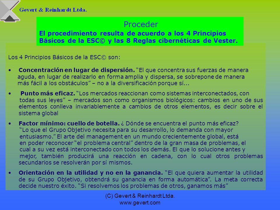 (C) Gevert & Reinhardt Ltda. www.gevert.com Los 4 Principios Básicos de la ESC© son: Concentración en lugar de dispersión. El que concentra sus fuerza