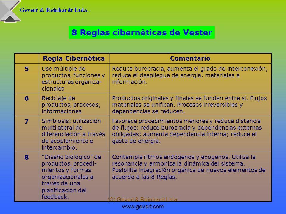 (C) Gevert & Reinhardt Ltda. www.gevert.com 8 Reglas cibernéticas de Vester Regla CibernéticaComentario 5 Uso múltiple de productos, funciones y estru