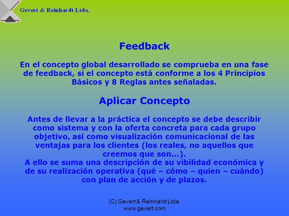 (C) Gevert & Reinhardt Ltda. www.gevert.com Feedback En el concepto global desarrollado se comprueba en una fase de feedback, si el concepto está conf