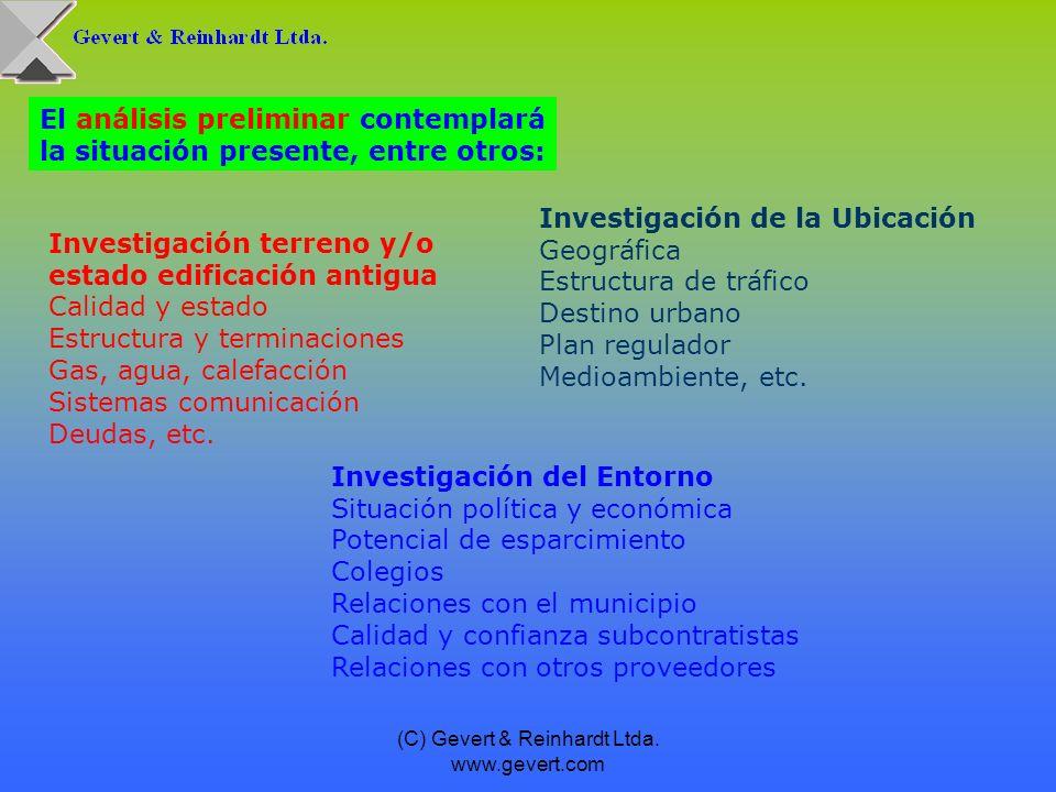 Investigación terreno y/o estado edificación antigua Calidad y estado Estructura y terminaciones Gas, agua, calefacción Sistemas comunicación Deudas,