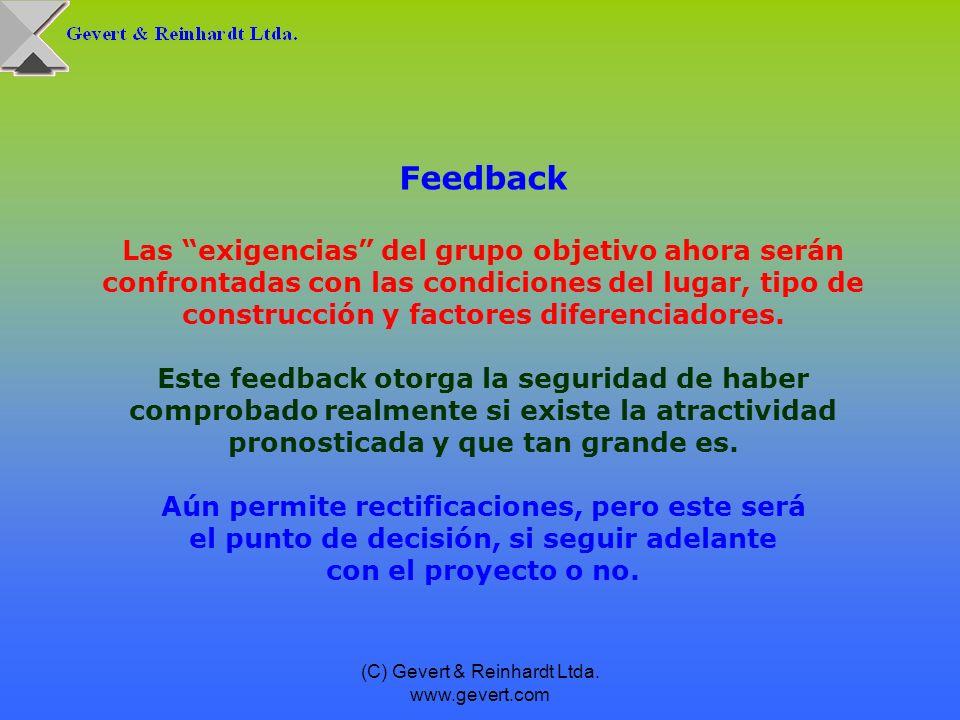 (C) Gevert & Reinhardt Ltda. www.gevert.com Feedback Las exigencias del grupo objetivo ahora serán confrontadas con las condiciones del lugar, tipo de