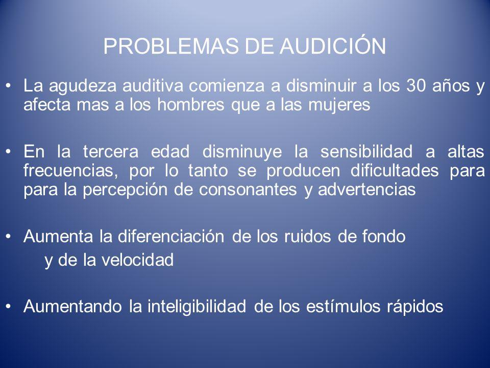 PROBLEMAS DE AUDICIÓN La agudeza auditiva comienza a disminuir a los 30 años y afecta mas a los hombres que a las mujeres En la tercera edad disminuye