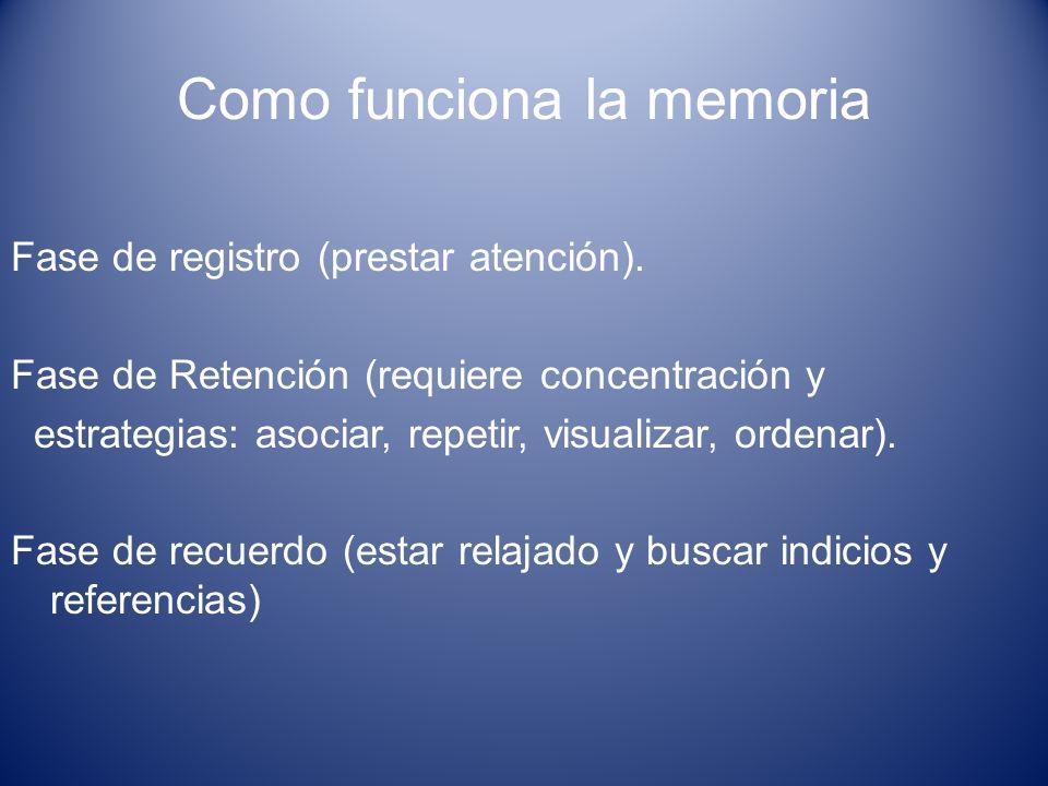 Como funciona la memoria Fase de registro (prestar atención). Fase de Retención (requiere concentración y estrategias: asociar, repetir, visualizar, o