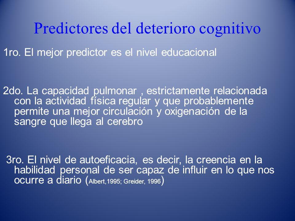 Predictores del deterioro cognitivo 1ro. El mejor predictor es el nivel educacional 2do. La capacidad pulmonar, estrictamente relacionada con la activ