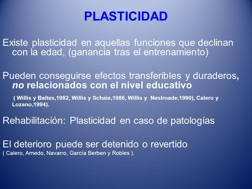 PLASTICIDAD Existe plasticidad en aquellas funciones que declinan con la edad, (ganancia tras el entrenamiento) Pueden conseguirse efectos transferibl