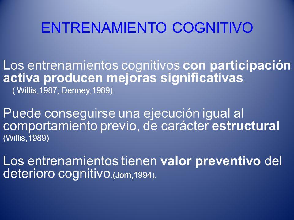 ENTRENAMIENTO COGNITIVO Los entrenamientos cognitivos con participación activa producen mejoras significativas. ( Willis,1987; Denney,1989). Puede con