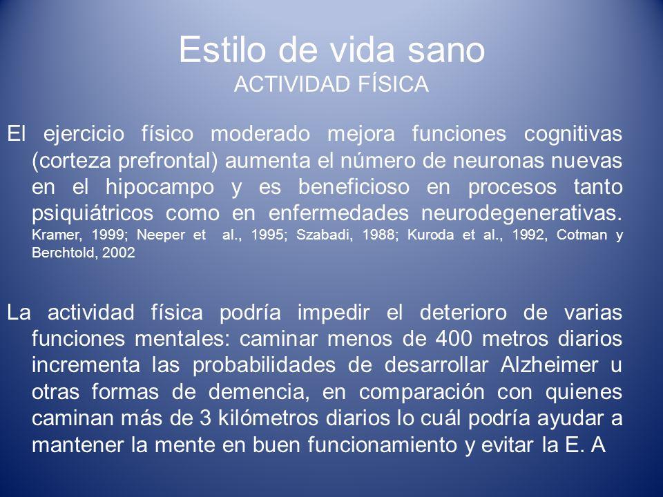 Estilo de vida sano ACTIVIDAD FÍSICA El ejercicio físico moderado mejora funciones cognitivas (corteza prefrontal) aumenta el número de neuronas nueva