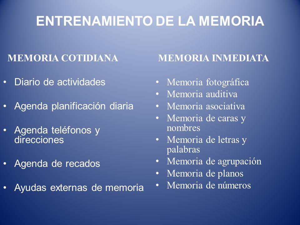MEMORIA COTIDIANA Diario de actividades Agenda planificación diaria Agenda teléfonos y direcciones Agenda de recados Ayudas externas de memoria MEMORI