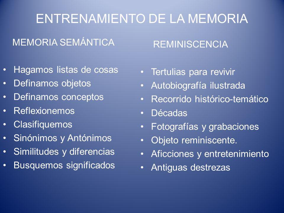 ENTRENAMIENTO DE LA MEMORIA MEMORIA SEMÁNTICA Hagamos listas de cosas Definamos objetos Definamos conceptos Reflexionemos Clasifiquemos Sinónimos y An