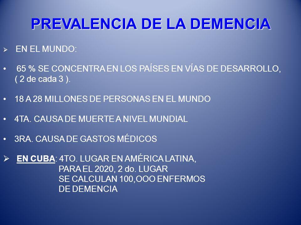 PREVALENCIA DE LA DEMENCIA EN EL MUNDO: 65 % SE CONCENTRA EN LOS PAÍSES EN VÍAS DE DESARROLLO, ( 2 de cada 3 ). 18 A 28 MILLONES DE PERSONAS EN EL MUN