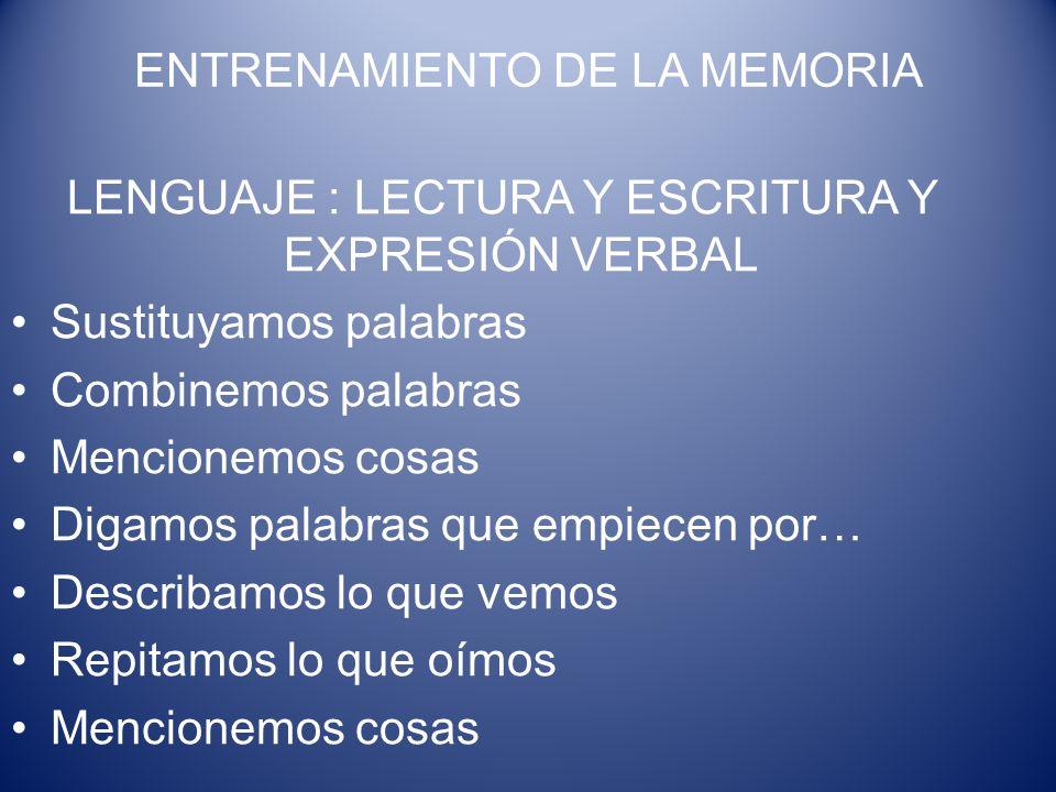ENTRENAMIENTO DE LA MEMORIA LENGUAJE : LECTURA Y ESCRITURA Y EXPRESIÓN VERBAL Sustituyamos palabras Combinemos palabras Mencionemos cosas Digamos pala