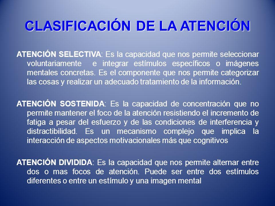 EN EL ADULTO MAYOR El comportamiento de la atención sufre cambios que se manifiestan en: Disminuye la tasa de exactitud en la detección de señales (disminución progresiva en el grado de vigilancia si debe ser mantenida voluntariamente) Las alteraciones van a estar íntimamente relacionadas también con la motivación que despierte la tarea que se esté acometiendo y con las alteraciones perceptivas La depresión y el consumo de psicofármacos fundamentalmente las benzodiacepinas también afectan la atención Cuando las dificultades en la concentración comienzan a asociarse a trastornos en la memoria reciente, debe sospecharse deterioro cognitivo