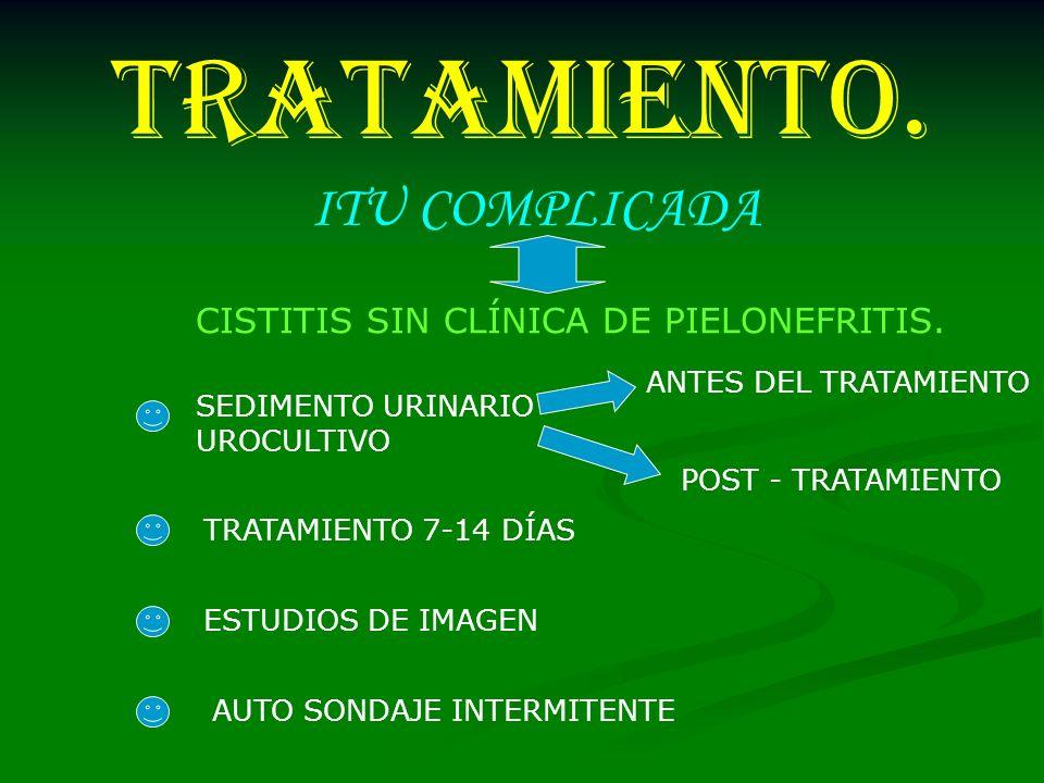 TRATAMIENTO. CISTITIS SIN CLÍNICA DE PIELONEFRITIS. SEDIMENTO URINARIO UROCULTIVO TRATAMIENTO 7-14 DÍAS ESTUDIOS DE IMAGEN AUTO SONDAJE INTERMITENTE A