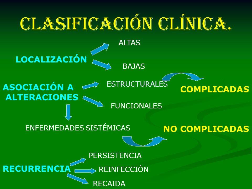 CLASIFICACIÓN CLÍNICA. LOCALIZACIÓN ALTAS BAJAS ASOCIACIÓN A ALTERACIONES ESTRUCTURALES FUNCIONALES ENFERMEDADES SISTÉMICAS RECURRENCIA PERSISTENCIA R