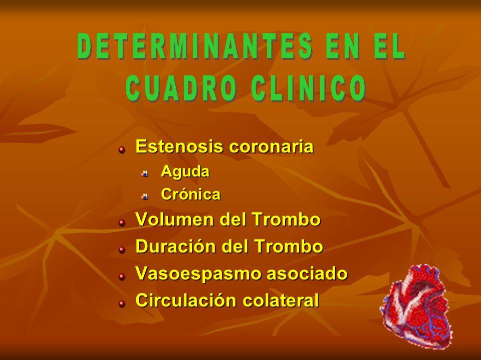 Estenosis coronaria Aguda Crónica Volumen del Trombo Duración del Trombo Vasoespasmo asociado Circulación colateral