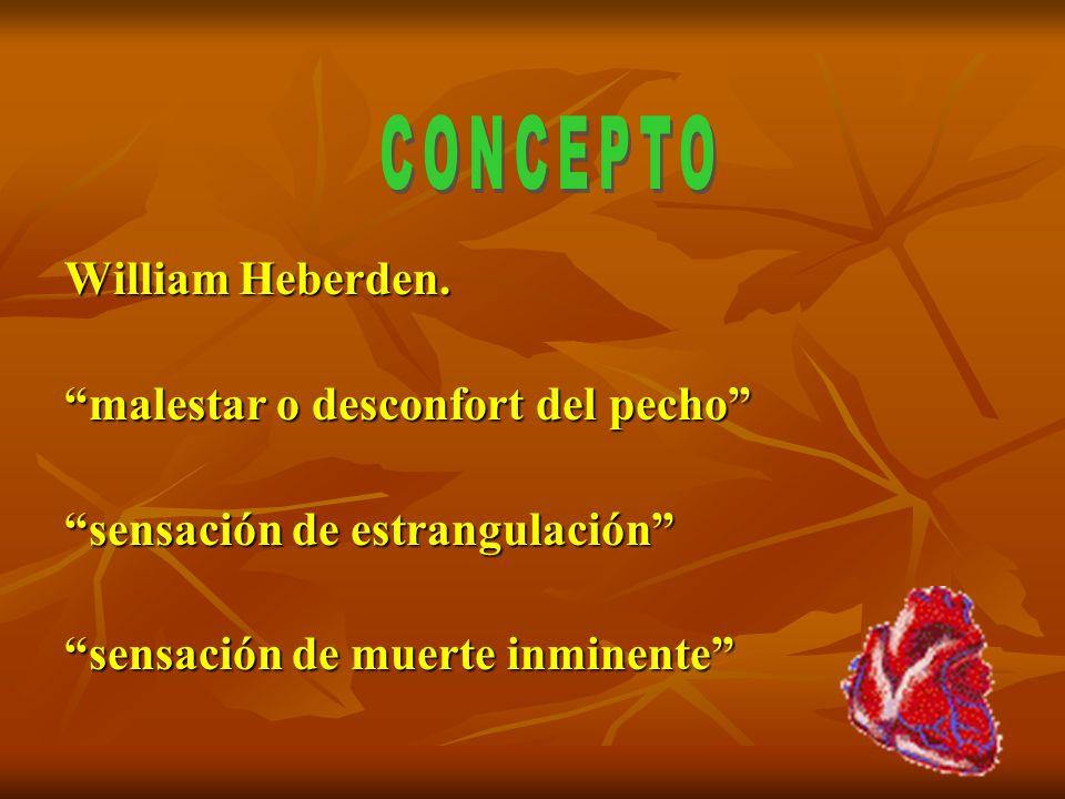 William Heberden. malestar o desconfort del pecho sensación de estrangulación sensación de muerte inminente