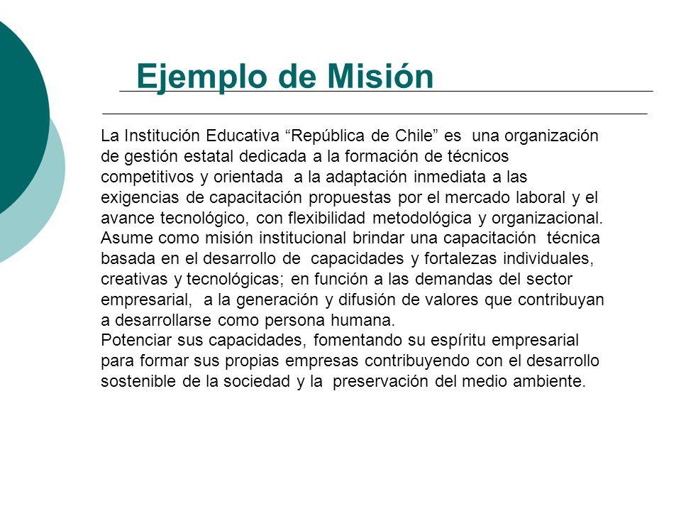 Requisitos para formular una Misión Definir lo que es y hace una organización Definir el servicio en términos de valor o beneficio que proporciona Pre