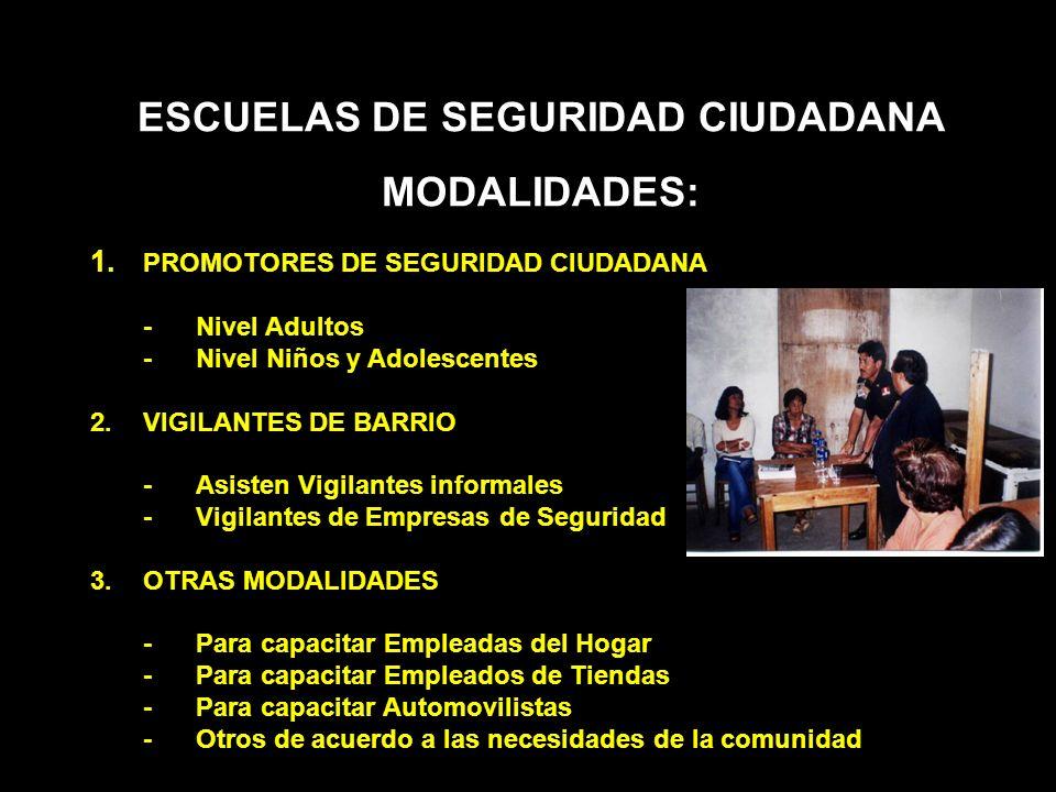 ESCUELAS DE SEGURIDAD CIUDADANA MODALIDADES: 1. PROMOTORES DE SEGURIDAD CIUDADANA -Nivel Adultos -Nivel Niños y Adolescentes 2.VIGILANTES DE BARRIO -A