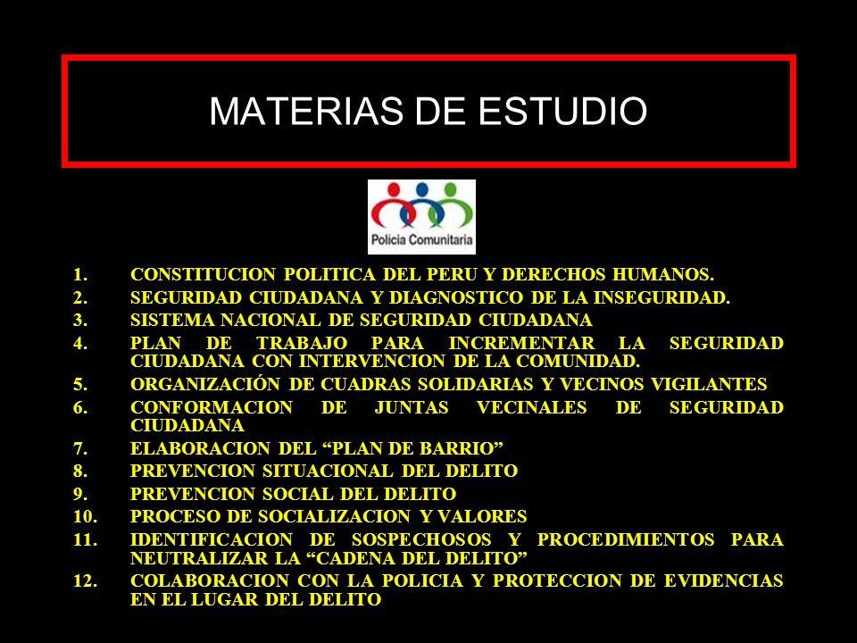 MATERIAS DE ESTUDIO 1.CONSTITUCION POLITICA DEL PERU Y DERECHOS HUMANOS. 2.SEGURIDAD CIUDADANA Y DIAGNOSTICO DE LA INSEGURIDAD. 3.SISTEMA NACIONAL DE