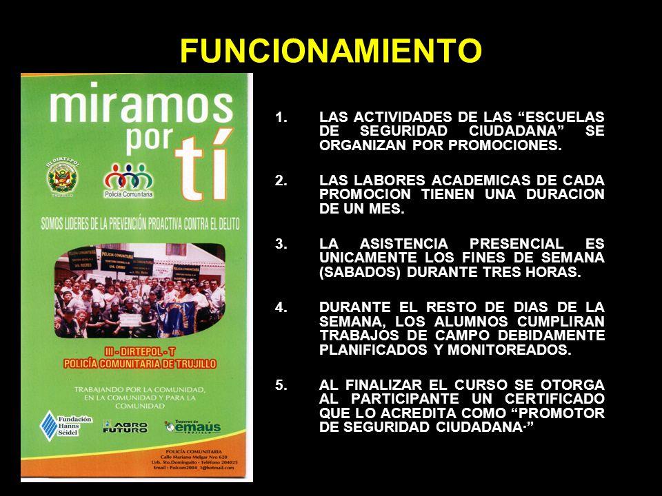 FUNCIONAMIENTO 1.LAS ACTIVIDADES DE LAS ESCUELAS DE SEGURIDAD CIUDADANA SE ORGANIZAN POR PROMOCIONES. 2.LAS LABORES ACADEMICAS DE CADA PROMOCION TIENE