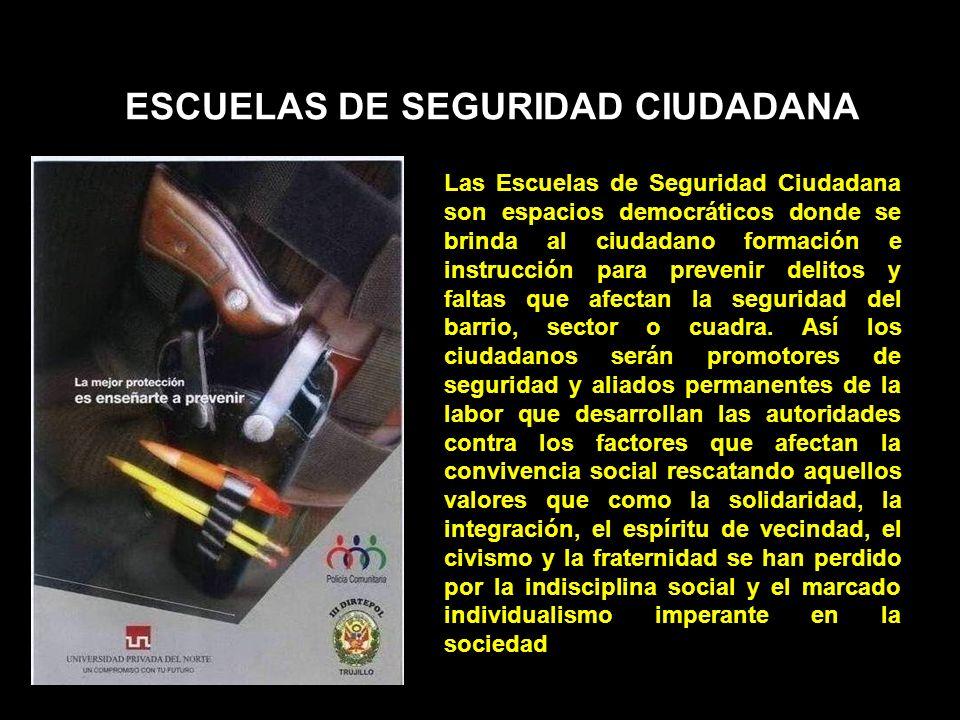 ESCUELAS DE SEGURIDAD CIUDADANA Las Escuelas de Seguridad Ciudadana son espacios democráticos donde se brinda al ciudadano formación e instrucción par