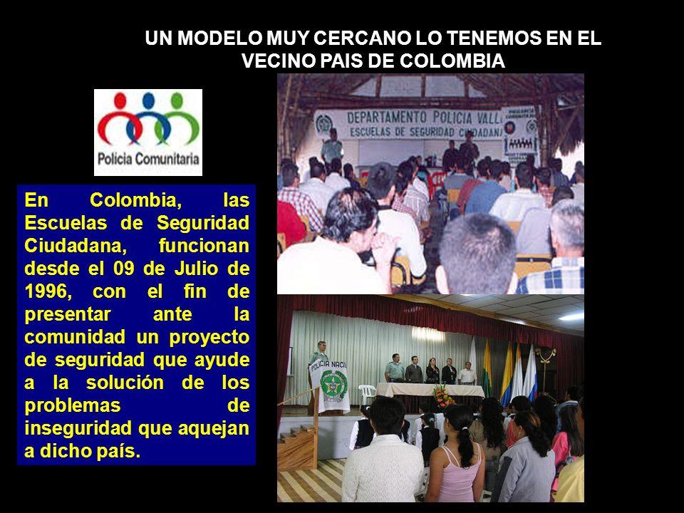 UN MODELO MUY CERCANO LO TENEMOS EN EL VECINO PAIS DE COLOMBIA En Colombia, las Escuelas de Seguridad Ciudadana, funcionan desde el 09 de Julio de 199