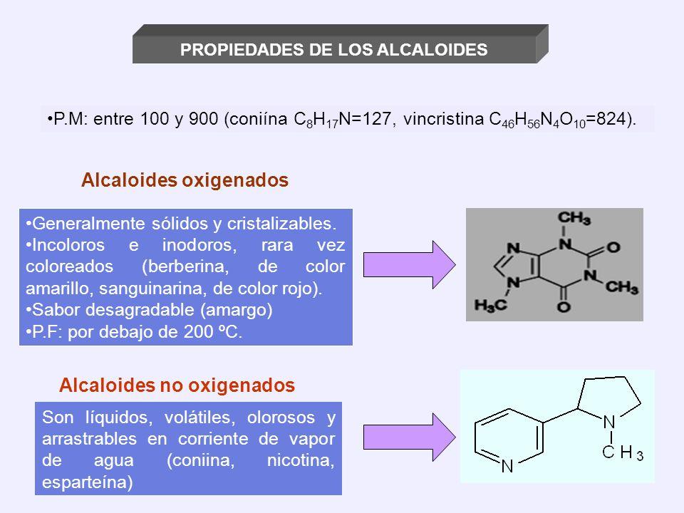 PROPIEDADES DE LOS ALCALOIDES P.M: entre 100 y 900 (coniína C 8 H 17 N=127, vincristina C 46 H 56 N 4 O 10 =824). Alcaloides oxigenados Generalmente s