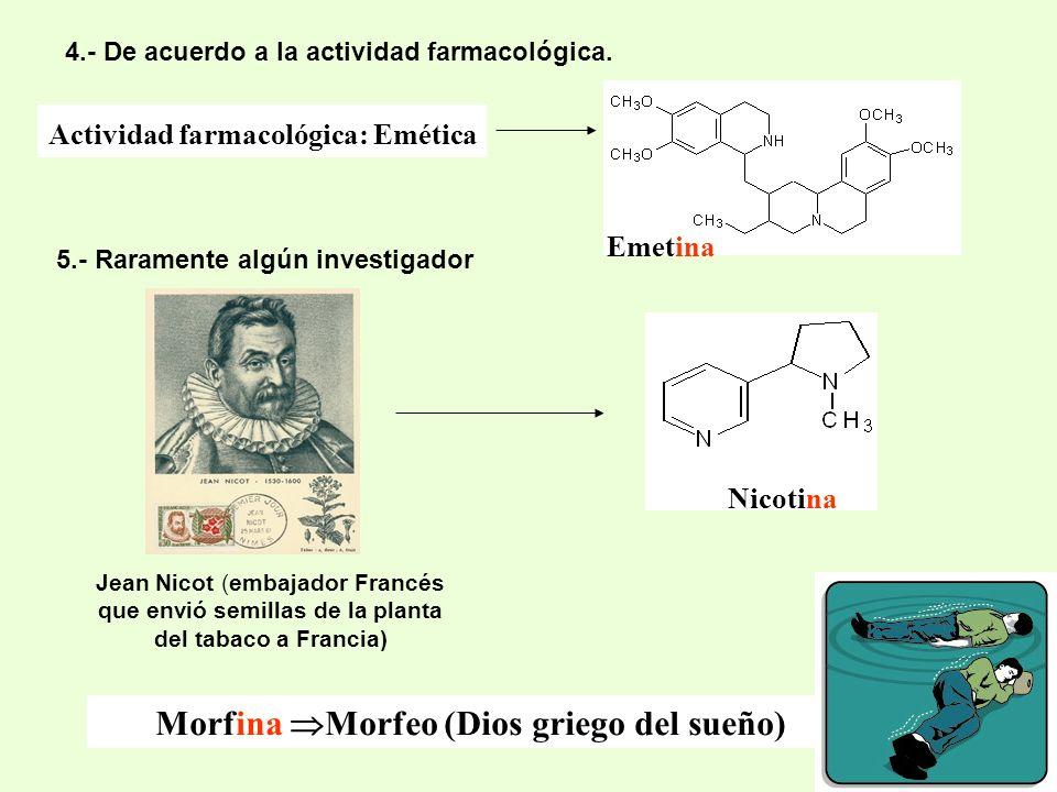 4.- De acuerdo a la actividad farmacológica. Morfina Morfeo (Dios griego del sueño) 5.- Raramente algún investigador Actividad farmacológica: Emética