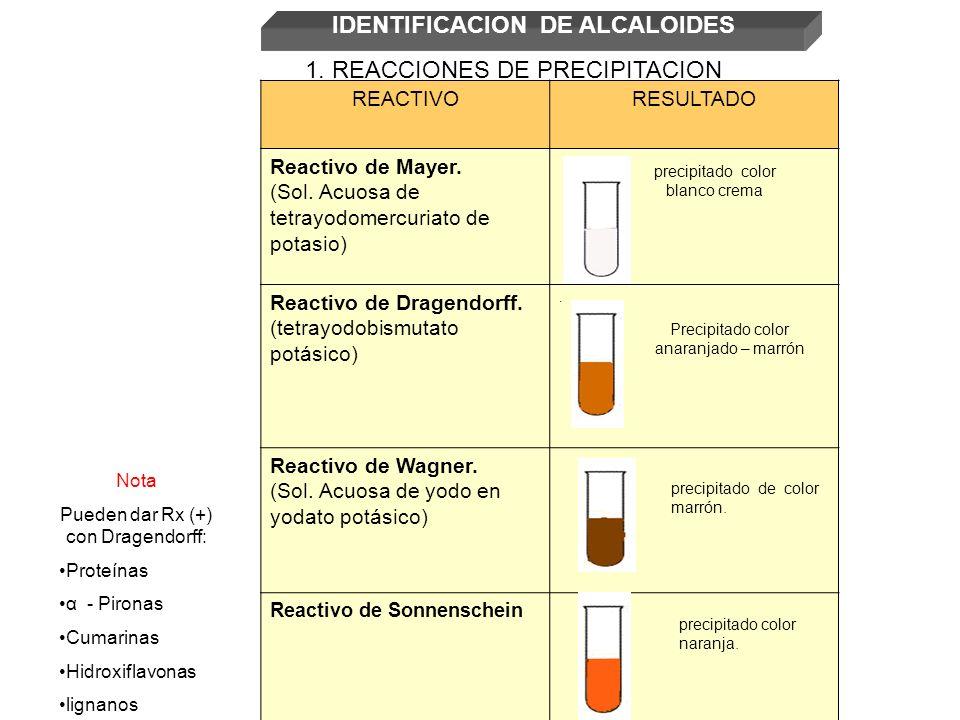 REACTIVORESULTADO Reactivo de Mayer. (Sol. Acuosa de tetrayodomercuriato de potasio) Reactivo de Dragendorff. (tetrayodobismutato potásico). Reactivo