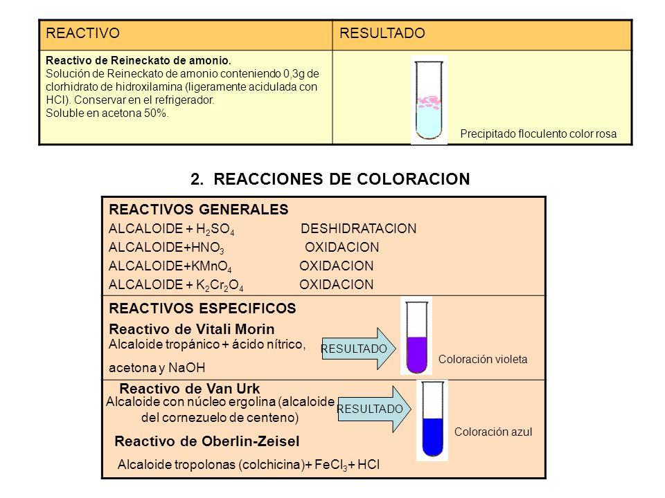 REACTIVORESULTADO Reactivo de Reineckato de amonio. Solución de Reineckato de amonio conteniendo 0,3g de clorhidrato de hidroxilamina (ligeramente aci