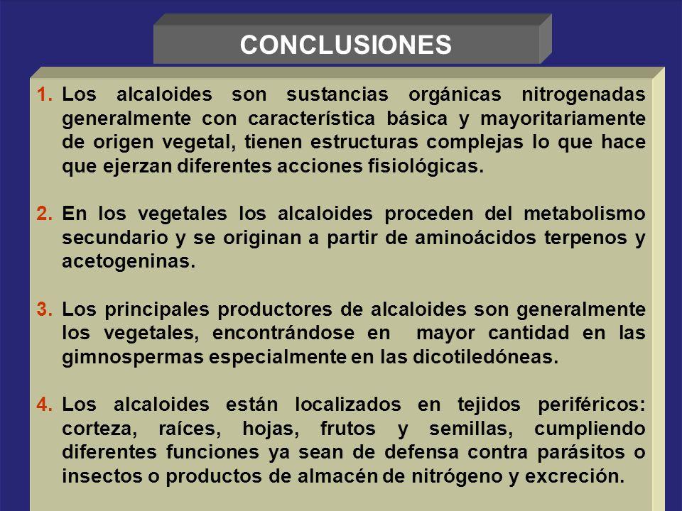 CONCLUSIONES 1.Los alcaloides son sustancias orgánicas nitrogenadas generalmente con característica básica y mayoritariamente de origen vegetal, tiene