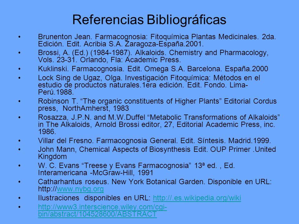 Referencias Bibliográficas Brunenton Jean. Farmacognosia: Fitoquímica Plantas Medicinales. 2da. Edición. Edit. Acribia S.A. Zaragoza-España.2001. Bros