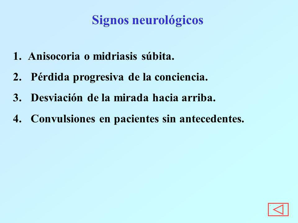 Signos neurológicos 1.Anisocoria o midriasis súbita. 2. Pérdida progresiva de la conciencia. 3. Desviación de la mirada hacia arriba. 4. Convulsiones