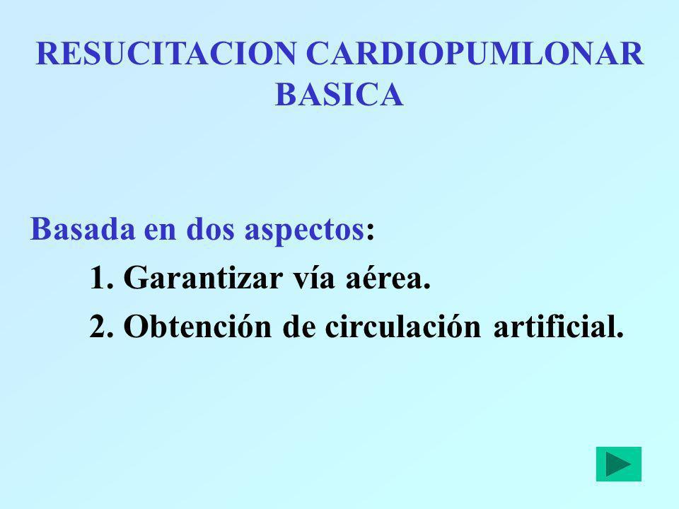 RESUCITACION CARDIOPUMLONAR BASICA Basada en dos aspectos: 1. Garantizar vía aérea. 2. Obtención de circulación artificial.