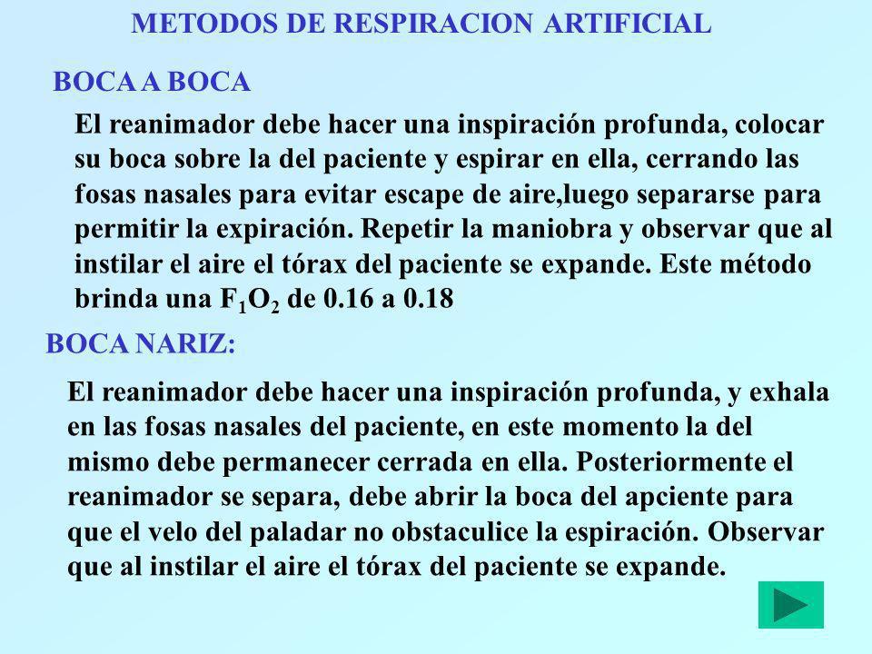 METODOS DE RESPIRACION ARTIFICIAL BOCA A BOCA El reanimador debe hacer una inspiración profunda, colocar su boca sobre la del paciente y espirar en el