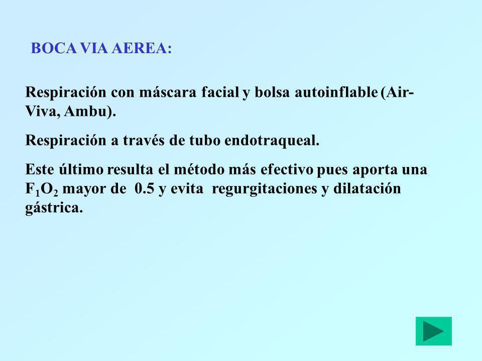 BOCA VIA AEREA: Respiración con máscara facial y bolsa autoinflable (Air- Viva, Ambu). Respiración a través de tubo endotraqueal. Este último resulta