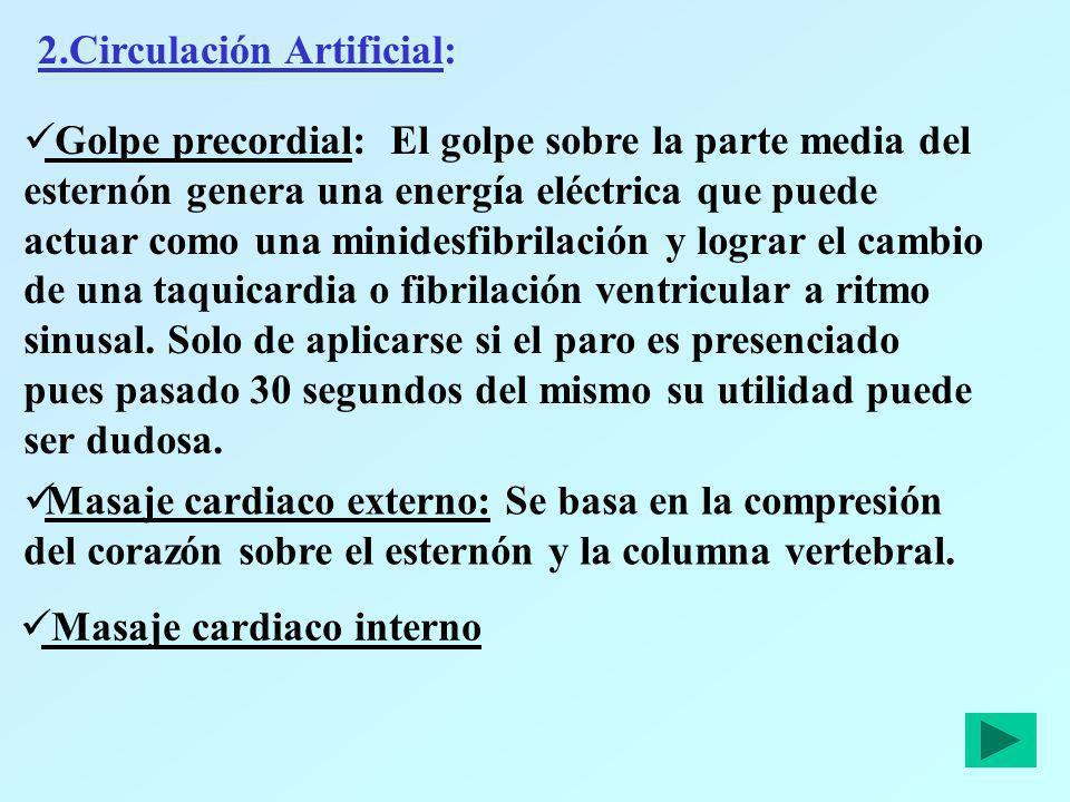 2.Circulación Artificial: Golpe precordial: El golpe sobre la parte media del esternón genera una energía eléctrica que puede actuar como una minidesf