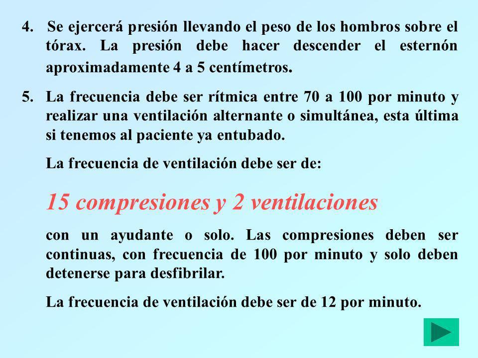 4. Se ejercerá presión llevando el peso de los hombros sobre el tórax. La presión debe hacer descender el esternón aproximadamente 4 a 5 centímetros.