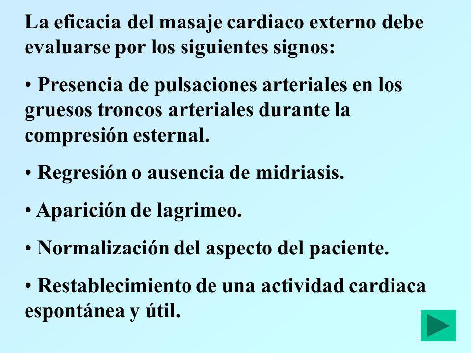 La eficacia del masaje cardiaco externo debe evaluarse por los siguientes signos: Presencia de pulsaciones arteriales en los gruesos troncos arteriale