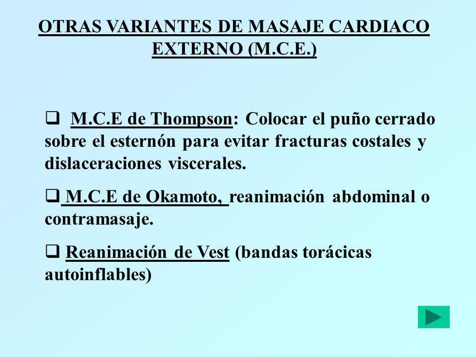 OTRAS VARIANTES DE MASAJE CARDIACO EXTERNO (M.C.E.) M.C.E de Thompson: Colocar el puño cerrado sobre el esternón para evitar fracturas costales y disl
