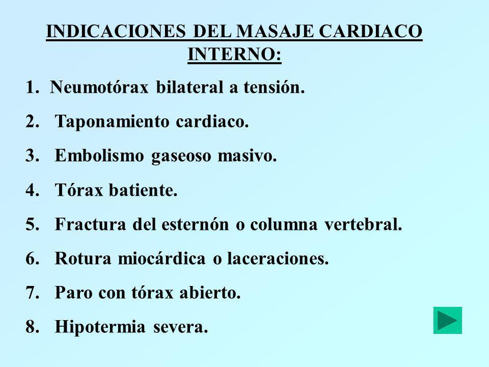 INDICACIONES DEL MASAJE CARDIACO INTERNO: 1.Neumotórax bilateral a tensión. 2. Taponamiento cardiaco. 3. Embolismo gaseoso masivo. 4. Tórax batiente.