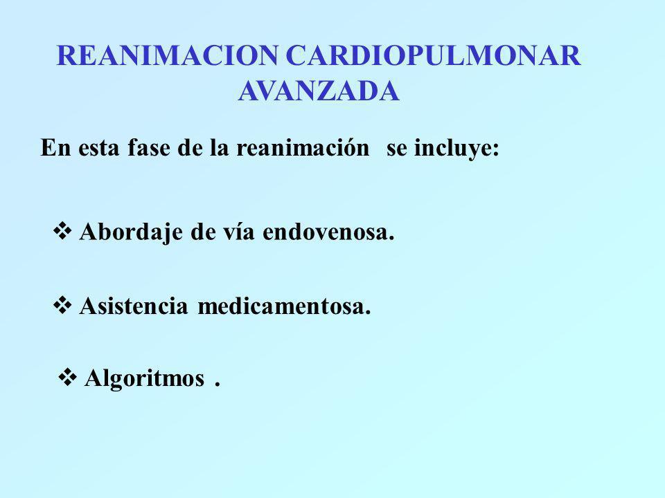 REANIMACION CARDIOPULMONAR AVANZADA En esta fase de la reanimación se incluye: Abordaje de vía endovenosa. Asistencia medicamentosa. Algoritmos.