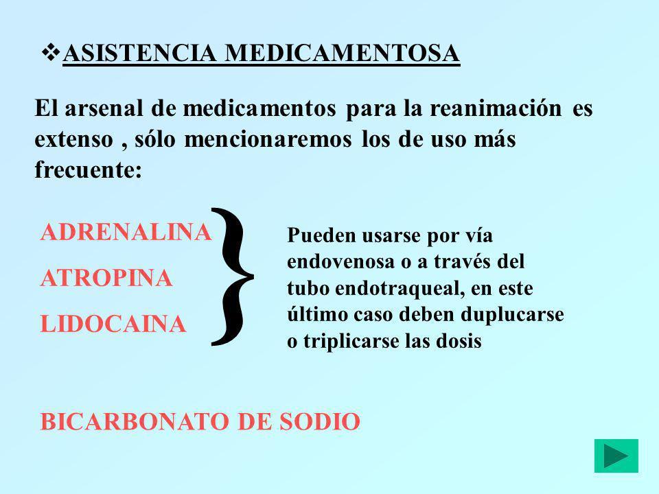 ASISTENCIA MEDICAMENTOSA El arsenal de medicamentos para la reanimación es extenso, sólo mencionaremos los de uso más frecuente: ADRENALINA ATROPINA L