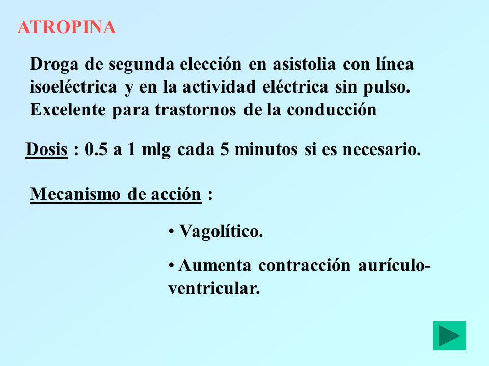 ATROPINA Droga de segunda elección en asistolia con línea isoeléctrica y en la actividad eléctrica sin pulso. Excelente para trastornos de la conducci