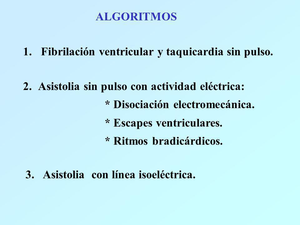 ALGORITMOS 1. Fibrilación ventricular y taquicardia sin pulso. Fibrilación ventricular y taquicardia sin pulso. 2.Asistolia sin pulso con actividad el